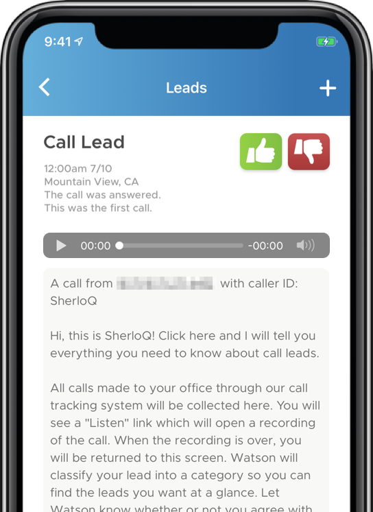 Phone Call Leads Screen